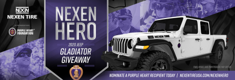 """In the wake of last year's highly-successful """"American Muscle for American Heroes"""" program, Nexen Tire America, Inc. has partnered with The Purple Heart Foundation for a second time to honor a combat-wounded veteran and Purple Heart recipient by giving away a custom 2020 Jeep Gladiator Sport S. The """"Nexen Hero"""" Campaign is designed to honor a well-deserving veteran who was wounded in combat and awarded the Purple Heart Medal by giving away a new Jeep Gladiator equipped with 35-inch Nexen Roadian MTX Extreme Off-Road Mud Terrain tires and several Mopar aftermarket parts. (Graphic: Business Wire)"""