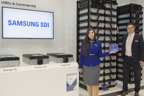 """Samsung SDI (KRX:006400) showcased the latest ESS technologies at ees Europe 2019 under the slogan """"Energy for the Next"""" which means preparing the next generation of ESS. The company exhibited its new ESS product E3, an ESS model with energy density enhanced by 20% compared to the previous model. High energy density can achieve space-efficiency because it enables even small-sized ESS to contain a large amount of energy. Designed for utility and commercial, the model can be widely used to supplement uneven energy production of some renewable energy such as solar and wind power or to store cheap, off-peak electricity for peak hours at commercial ESS facilities. On top of that, Samsung SDI drew favorable responses from customers while showcasing full ESS product lineup that reflects customer's needs, such as 100Ah cells for ESS and high voltage ESS modules for home. (Photo: Business Wire)"""