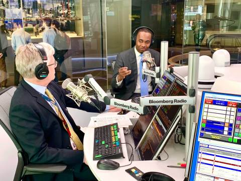 Bermuda Premier David Burt describes the island's fintech innovations in an interview with Paul Sweeney and Lisa Abramowicz of Bloomberg Radio during Blockchain Week in New York (Photo: Business Wire)