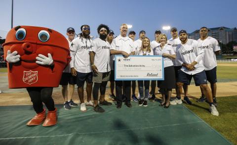 The Dallas Cowboys join Reliant to present $58,000 to The Salvation Army Arlington at the eighth annual Reliant Home Run Derby Wednesday, May 15, 2019 in Frisco, Texas. The event brought 9,414 fans out to cheer on the Cowboys as they aimed for the fences. (Brandon Wade/AP Images for Reliant)