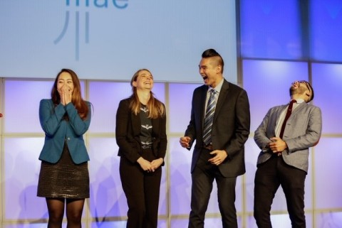 Mary Sun, Kristen Lear, Joshua Yang, and Felipe Hernandez were surprised to learn that they are recipients of the 2019 Sallie Mae Bridging the Dream Scholarship for Graduate Students. (Photo: Business Wire)