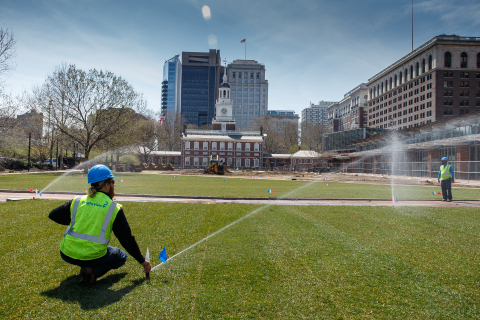 BrightView Landscapes irrigation technicians adjust sprinkler heads at Philadelphia's Independence Mall. BrightView and the National Park Service today re-opened the mall to Philadelphia visitors after more than seven weeks of rehabilitation work on the landscape. (Photo: Business Wire)