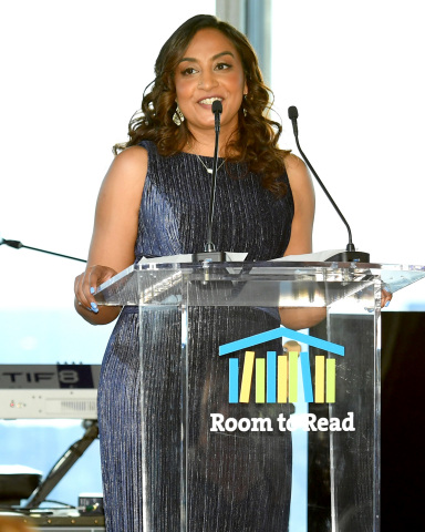 NEW YORK, NEW YORK - MAY 16: Dr. Geetha Murali speaks onstage during the Room To Read 2019 New York Gala on May 16, 2019 in New York City. (Photo by Mike Coppola/Getty Images for Room to Read)