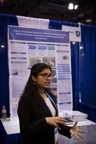 Shriya Reddy, 15, of Northville, Michigan, was awarded the newly announced Craig R. Barrett Award for Innovation of $10,000 on Friday, May 17, 2019, at the 2019 Intel International Science and Engineering Fair, a program of Society for Science & the Public and the world's largest international pre-college science competition. She was honored for her novel, noninvasive approach for rapidly diagnosing melanoma lesions. (Credit: Intel Corporation)
