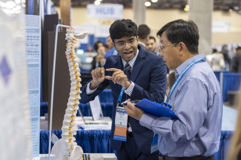 Krithik Ramesh, 16, of Greenwood Village, Colorado, received top honors with the Gordon E. Moore Award of $75,000 on Friday, May 17, 2019, at the 2019 Intel International Science and Engineering Fair, a program of Society for Science & the Public and the world's largest international pre-college science competition. He used augmented reality, machine learning and computer vision to help orthopedic surgeons achieve greater accuracy for screw placement during spinal surgery. (Credit: Chris Ayers/Society for Science & the Public)