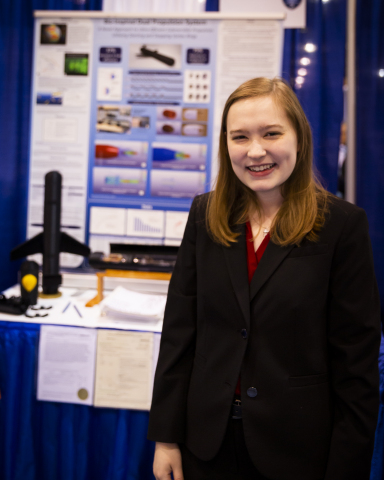 Rachel Seevers, 17, of Lexington, Kentucky, received one of two Intel Foundation Young Scientist Awards of $50,000 on Friday, May 17, 2019, at the 2019 Intel International Science and Engineering Fair, a program of Society for Science & the Public and the world's largest international pre-college science competition. She designed, built and tested a rigid, energy-efficient prototype of an underwater propulsion device that mimics the way jellyfish move through the water. (Credit: Intel Corporation)