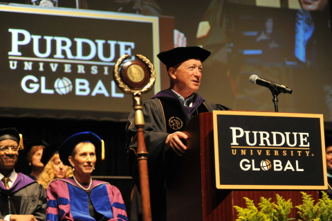 President of Purdue University Mitchell E. Daniels, Jr. speaks at the commencement for Purdue Univer ...