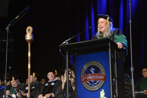 Vivian W. Pinn, M.D. addressing Ross University School of Medicine graduating class at commencement ...