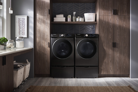 Samsung's front load washer WF6300 and matching dryer DV6300 in Black Stainless Steel.(Photo: Business Wire)