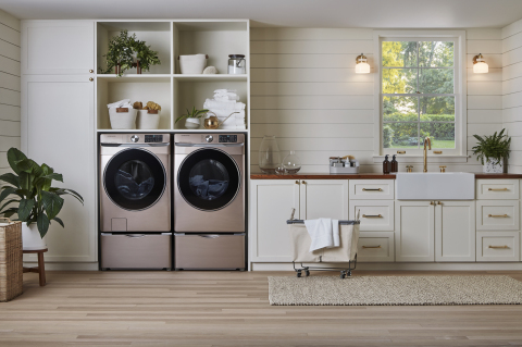 Samsung's front load washer WF6300 and matching dryer DV6300 in Champagne.(Photo: Business Wire)