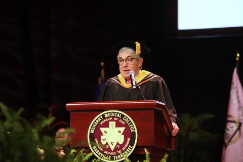Stanley Bergman, Chairman of the Board and CEO for Henry Schein, Inc., lends his wisdom to graduates at Meharry Medical College's 144th Commencement Exercises Saturday, May 18, 2019. Bergman was the main speaker for the event. Henry Schein, Inc. is a global Fortune 500® company and the world's largest provider of health care products and services to office-based dental and medical practitioners. (Photo: Business Wire)