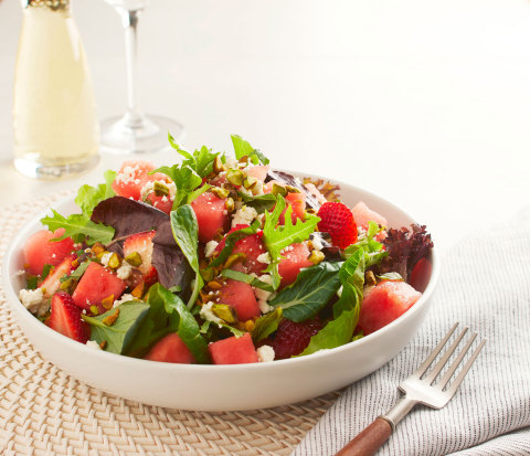 The California Fields Salad is back! This fresh summer favorite features watermelon, strawberries and field greens with housemade Champagne vinaigrette, Feta, basil, and California pistachios. (Photo: Business Wire)