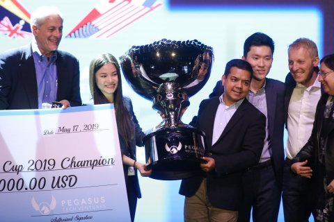 Cassie Nguyen (left of trophy), Co-Founder & COO of Abivin, receiving trophy from Anis Uzzaman (right of trophy), General Partner at Pegasus Tech Ventures, and Chairman of Startup World Cup (Photo: Business Wire)
