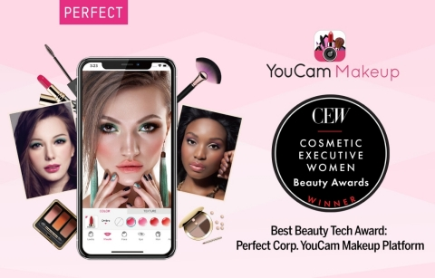 The YouCam Makeup platform is recognized with CEW's 2019 Best Beauty Technology Award for its groundbreaking advancements in AI and AR. (Photo: Business Wire)
