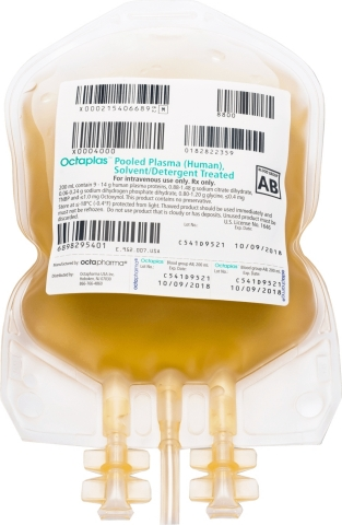 The U.S. Food and Drug Administration has approved a revised product label for Octapharma USA's Octaplas™, Pooled Plasma (Human), Solvent/Detergent Treated Solution for Intravenous Infusion. The new labeling provides the results of a post-marketing study on Octaplas™ that demonstrates the product's safety, efficacy and tolerability in treating critically ill pediatric patients who require replacement of multiple coagulation factors. (Photo: Business Wire)