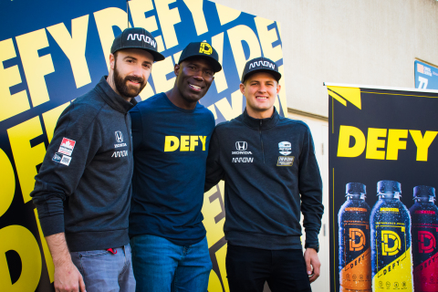 James Hinchcliffe (left), Terrell Davis (center) and Marcus Ericsson (right)(Photo: Business Wire)