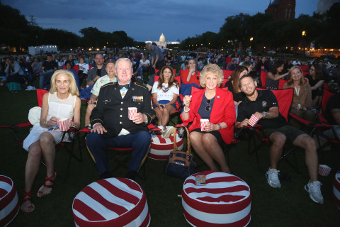 Academy Award-winning producer Wendy Finerman and retired Sergeant First Class Sammy L. Davis, a recipient of the Medal of Honor, attend a special 25th anniversary screening of Forrest Gump on the National Mall on Friday, May 24, 2019 in Washington, D.C. Davis' real-life Medal of Honor ceremony appears in the film with Tom Hanks superimposed. (Photo by Casey Rodgers/Invision for Paramount Home Entertainment)