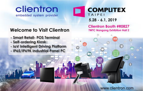 Clientron introduces the latest POS system and IoV intelligent in-vehicle driving solution at COMPUTEX Taipei 2019. (Photo: Business Wire)
