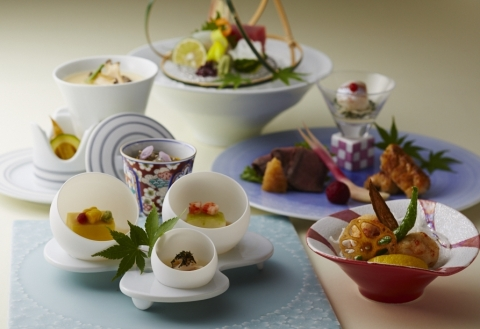 Specially prepared Japanese foods using Arita and Imari tableware served throughout July 2019 to commemorate the 39th annual Arita and Imari Porcelain Exhibition. (Photo: Business Wire)