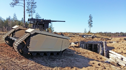 Milrem Robotics and ST Engineering demonstrated a beyond visual line of sight (BVLOS) combat UGV armed with a 40mm AGL and a 12.7mm HMG in April during a live fire exercise held in Tapa, Estonia. (Photo: Business Wire)