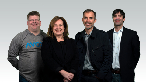 Pictured (left to right): Randy Layman (VP of Software Engineering), Barbara Dondiego (COO), David Wise (CEO), Weston Edmunds (Executive VP) (Photo: Business Wire)