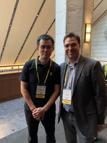 Changpeng Zhao, CEO of Binance, with Dan Schatt, Co-Founder and President of Cred (Photo: Business W ...