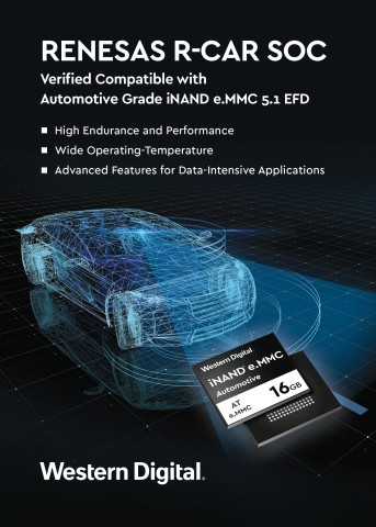 Western Digital's iNAND e.MMC 5.1 embedded flash drive has been verified compatible with Renesas R-C ...