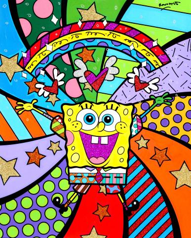 Brazilian-born, Miami-based international pop artist Romero Britto reimagined SpongeBob in his trademark vibrant, bold and colorful patterns. (Graphic: Business Wire)