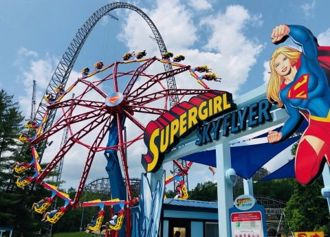 SUPERGIRL: Sky Flyer has taken off at Six Flags St. Louis, sending guests spinning upside down in open air seats some 7 stories high. (Photo: Business Wire)