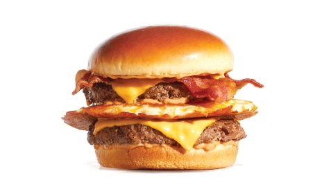 The new Big IHOP Pancake Burger includes a buttermilk pancake griddled with Cheddar cheese layered between two premium Steakburger patties, then topped with American cheese, custom-cured hickory-smoked bacon and house-made IHOP sauce. (Photo: Business Wire)