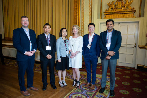From L to R: Martin Hirche (3rd Dissertation); Junzhou Zhang (2nd Proposal); Anh Dang (2nd Dissertation); Michelle Haurilak (Director Public Relations, Digital & Product Marketing, MK Canada); Shaobo Li (1st Proposal); Kiran Pedada (1st Dissertation). (Photo: Mary Kay Inc.)