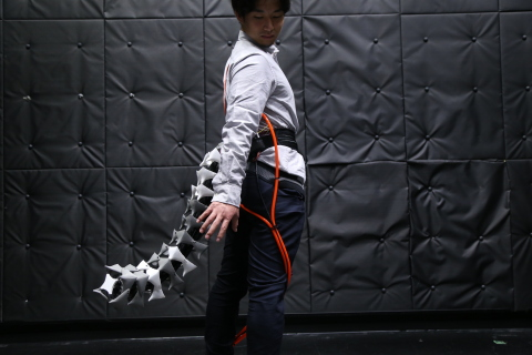 """Arque: Artificial Biomimicry-Inspired Tail for Extending Innate Body Functions"" © 2019 Keio University Graduate School of Media Design"