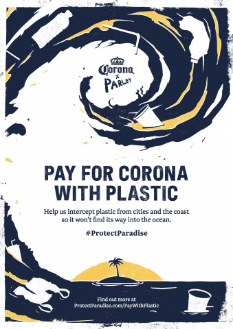 Corona swaps sales for plastic during World Oceans Week as part of mission to protect paradise with Parley (Graphic: Business Wire)