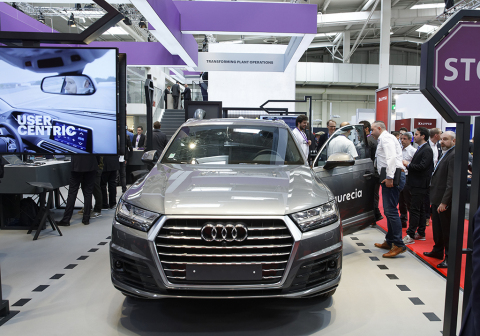 "The ""Connected Car Lab"" on the Accenture booth at Hanover Fair 2019: The new co-innovation initiative from Accenture, Faurecia and Affectiva aims to develop the car cabin of the future (Photo: Business Wire)"
