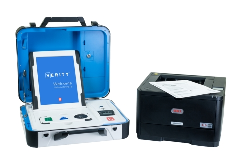 The Verity Touch Writer ballot marking device provides true equality of access to all voters, with adjustable video and audio settings, the ability to use adaptive devices that meet ADA standards and many other voter personalization options. (Photo: Business Wire)