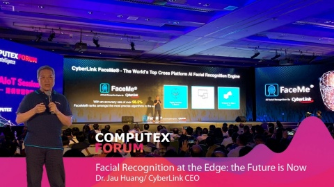 CyberLink's CEO Dr. Jau Huang Shared Insights about the Future of AI Facial Recognition in an On-Stage Speech at 2019 COMPUTEX Forum. (Graphic: Business Wire)