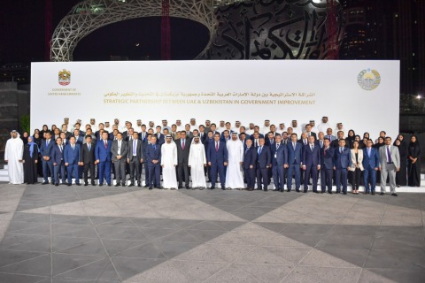 Group photo gather Sheikh Mohammed bin Rashid, Vice President and Prime Minister of the UAE and Ruler of Dubai, with the Uzbek delegation (Photo: AETOSWire)
