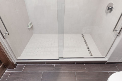 The ShowerLine linear drain from QuickDrain USA offers high-end style for both curbless and curbed showers without busting the budget. (Photo: Oatey)