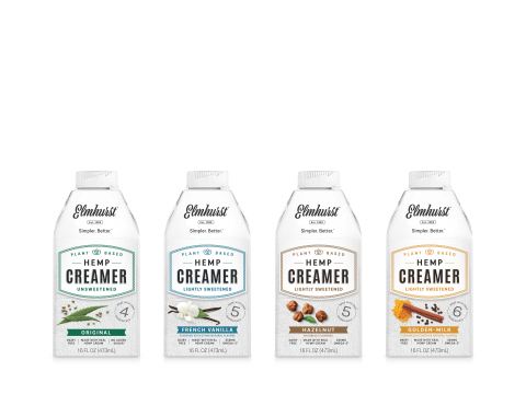 Elmhurst® 1925, maker of simple, nutritious and incredibly delicious plant-based nut and grain milks, is excited to announce the expansion of its Hemp Creamer line with new crowd-pleasing flavors: French Vanilla, Hazelnut and Golden Milk. (Photo: Business Wire)
