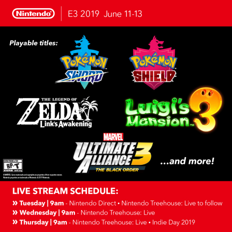 Nintendo confirmed that the Nintendo Switch games available for people to play on the show floor include Pokémon Sword and Pokémon Shield. Other games on the show floor include Luigi's Mansion 3, The Legend of Zelda: Link's Awakening and MARVEL ULTIMATE ALLIANCE 3: The Black Order, in addition to various other games playable in Nintendo's booth. (Graphic: Business Wire)