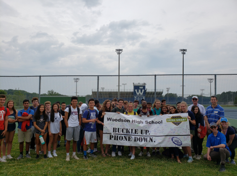 Students at Woodson High School in Fairfax County, Va., participated in safe-driving activities June ...