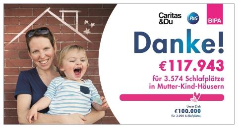 117.943 Euro für 3.574 Schlafplätze – erfolgreiche Spendenaktion von P&G und BIPA für Caritas Initiative #wirtun (Photo: Business Wire)