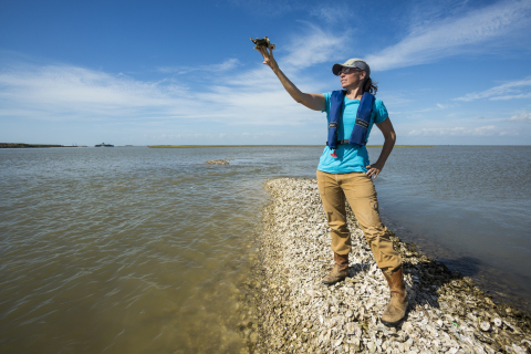 Julie Sullivan, coastal restoration project manager for the Nature Conservancy. © Jerod Foster for The Nature Conservancy.