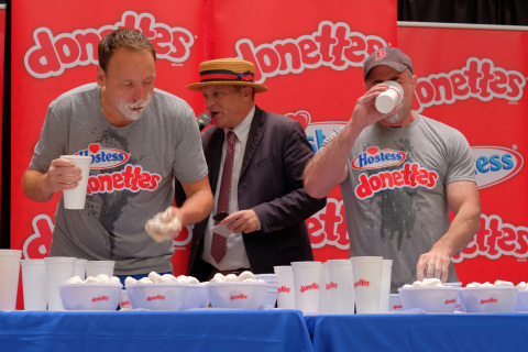Geoffrey Esper Beat Out Joey Chestnut, Devouring 235 Donettes® at the Second World Hostess® Donettes® Eating Contest in Stunning Upset (Photo: Business Wire)