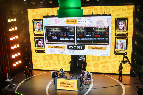 In this photo provided by Nintendo of America, The Completionist, AbdallahSmash026, thedragonfeeney and YellowKillerBee compete in a Super Mario Maker 2 course custom-made by Nintendo's Treehouse as part of the Super Mario Maker 2 Invitational 2019 at the Theatre at the Ace Hotel in Los Angeles. The Super Mario Maker 2 game is available for the Nintendo Switch system beginning on June 28, 2019. (Photo: Business Wire)