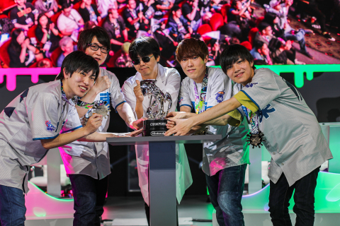 In this photo provided by Nintendo of America, Hisashi Nogami, Producer of the Splatoon 2 game, celebrates with GGBOYZ from Japan on winning the Splatoon 2 World Championship 2019 on Saturday, June 8, 2019, at the Theatre at the Ace Hotel in Los Angeles. (Photo: Business Wire)