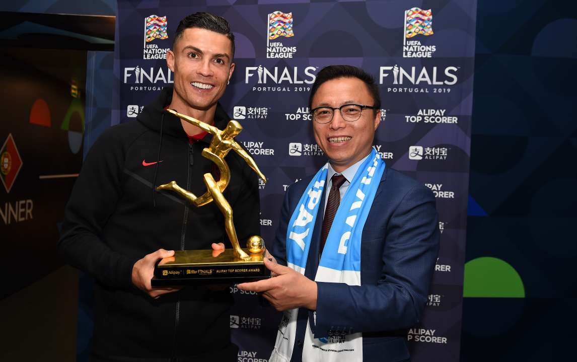 ronaldo takes home alipay top scorer trophy at uefa nations league finals business wire uefa nations league finals