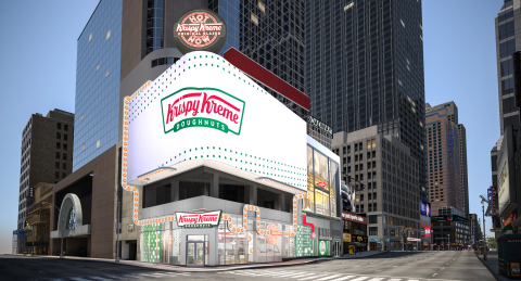 Krispy Kreme Times Square Flagship at Broadway and 48th Street will feature hot, fresh doughnuts 24/7, world's largest Hot Light, new immersive and interactive digital experiences, and exclusive merchandise (Photo: Business Wire)