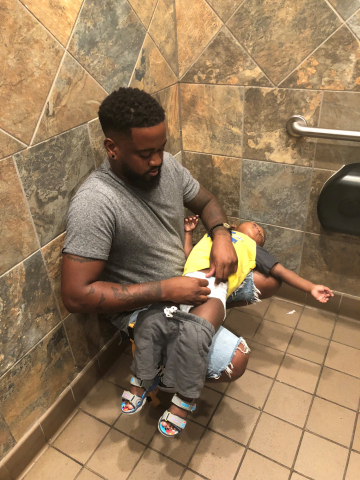 In 2018, Donte Palmer started a movement called #SquatforChange when this photo of him changing his son's diaper in a public restroom went viral, leading to a partnership announced today with Pampers.