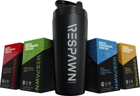 The four flavors of RESPAWN with the Insulated Metal Shaker Cup. (Photo: Business Wire)